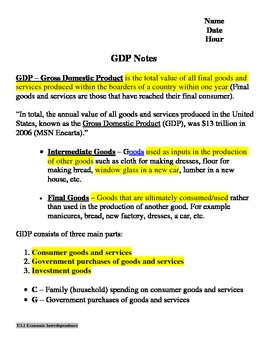 GDP Notes Gross Domestic Product Notes