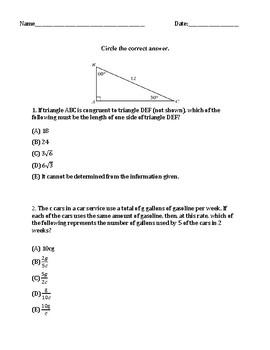 GED Math Practice Test