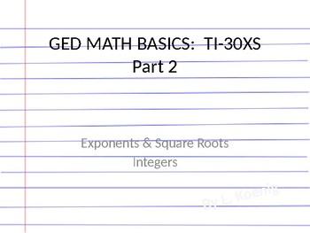 GED Math Visuals:  Learn the TI 30 SX  Lesson #2