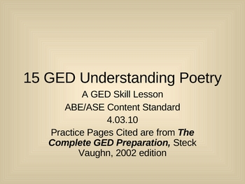 GED Reading Lesson 15 Understanding Poetry