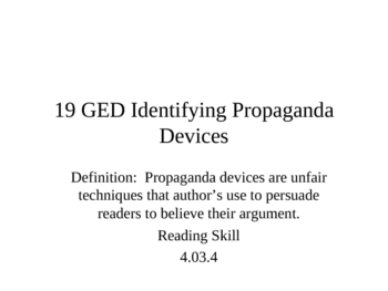 GED Reading Lesson 19 Identifying Propaganda Devices