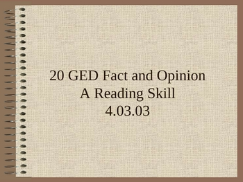 GED Reading Lesson 20 Fact and Opinion