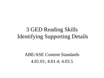 GED Reading Lesson 3 Supporting Details