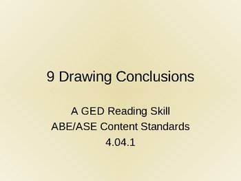 GED Reading Lesson 9 Drawing Conclusions