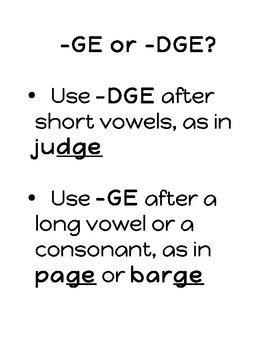 GE/DGE Spelling