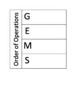 GEMS Order of Operations Foldable Notes for Math Interactive Notebooks