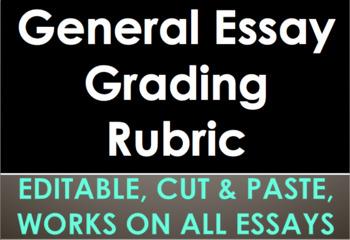 GENERAL ESSAY RUBRIC - For grading & student self-assessment