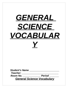 GENERAL SCIENCE VOCABULARY