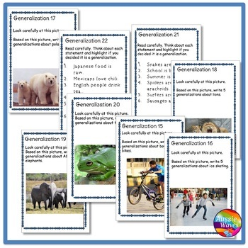 Reading Task Cards Improve COMPREHENSION GENERALIZING SKILLS
