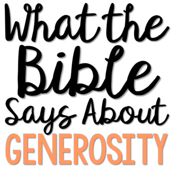 GENEROSITY: Bible Activity for Teens, Brochure Project, Interactive Lesson