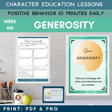 GENEROSITY -Positive Behavior | Daily Character Education