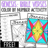 GENESIS Bible Verse Discovery Activity | Color by Number C