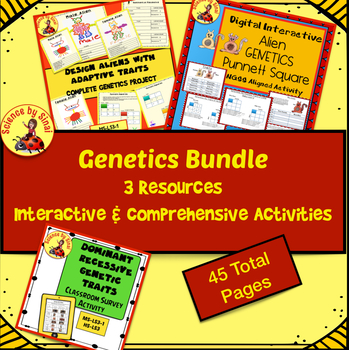 GENETICS BUNDLE!  3 Interactive and Comprehensive Activities MS-LS3