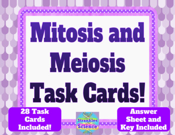 GENETICS: Mitosis and Meiosis Task Cards! 28 cards, answer sheet and key!