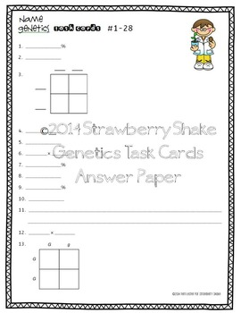GENETICS Task Cards for Middle and High School Biology Life Science