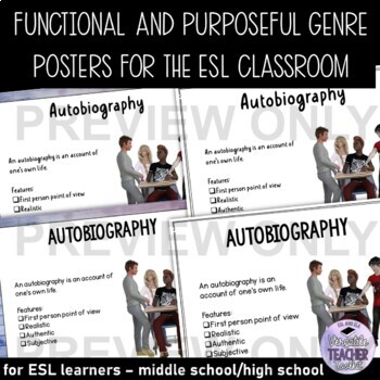 GENRE POSTERS/BULLETIN BOARD Reference Guide and Classroom Decor UPDATED