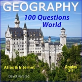 GEOGRAPHY - 100 World Map Questions for Atlas & Internet (Grades 3-7)