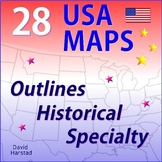 GEOGRAPHY | 28 USA Maps (Outlines, History, Specialty) | Grades K-12
