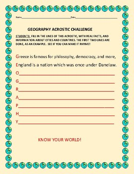 GEOGRAPHY ACROSTIC CHALLENGE!