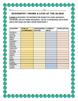 GEOGRAPHY ACTIVITY: KNOWING OUR WORLD