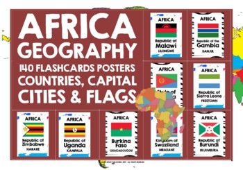 GEOGRAPHY AFRICA FLASHCARDS POSTERS