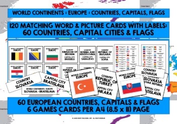 GEOGRAPHY EUROPE COUNTRIES, CAPITAL CITIES & FLAGS GAME CARDS