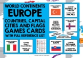 GEOGRAPHY CARDS EUROPE COUNTRIES, CAPITAL CITIES & FLAGS