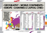 GEOGRAPHY EUROPE COUNTRIES & CAPITAL CITIES REFERENCE LIST