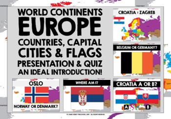 GEOGRAPHY EUROPE COUNTRIES CAPITAL CITIES & FLAGS PRESENTATION & QUIZ
