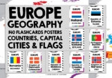 GEOGRAPHY - 70 POSTERS PACK EUROPEAN COUNTRIES, CAPITALS, FLAGS