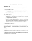 GEOGRAPHY INQUIRY PROJECT SUCCESS CRITERIA AND EVALUATION