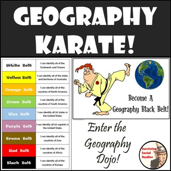 GEOGRAPHY KARATE!  Countries of the World and 50 States & Capitals Challenge