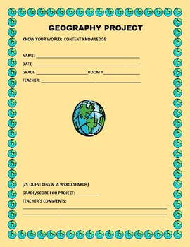 GEOGRAPHY PROJECT: A RESEARCH/ CONTENT KNOWLEDGE ACTIVITY