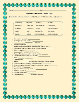 GEOGRAPHY QUIZ W/ ANSWER SHEET GRADES 3-7, MG