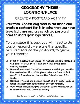 GEOGRAPHY THEME OF LOCATION/PLACE: CREATE A POSTCARD PROJECT
