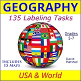 GEOGRAPHY | USA & World Maps | 135 Map Labeling Tasks (Gr. 3-7)