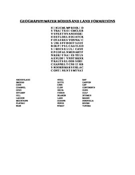 GEOGRAPHY WORD SEARCH:WATER & LAND FORMATIONS