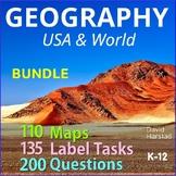 Geography Bundle | Maps, Questions, Labeling for Atlas & Internet (K-12)