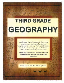 GEOGRAPHY - globe, map, continents, oceans, directions, compass with assessment