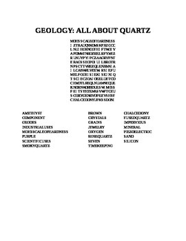GEOLOGY: ALL ABOUT QUARTZ WORD SEARCH