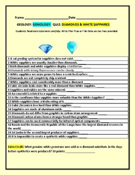 GEOLOGY/ EARTH SCIENCE: QUIZ ON DIAMONDS & WHITE SAPPHIRES
