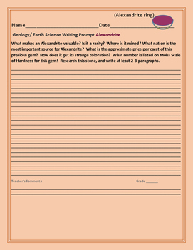 GEOLOGY/EARTH SCIENCE WRITING PROMPT: ALEXANDRITE