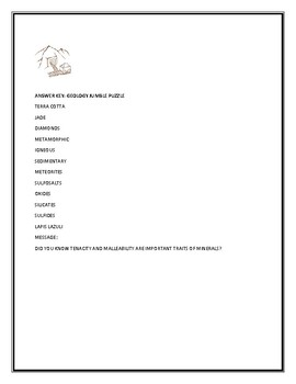 GEOLOGY JUMBLE PUZZLE WITH MESSAGE & ANSWER KEY