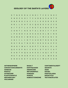 GEOLOGY OF THE EARTH'S LAYERS WORD SEARCH