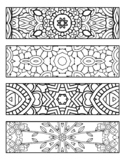 GEOMETRIC COLORING BOOKMARK,  KALEIDOSCOPE COLORING BOOKMA