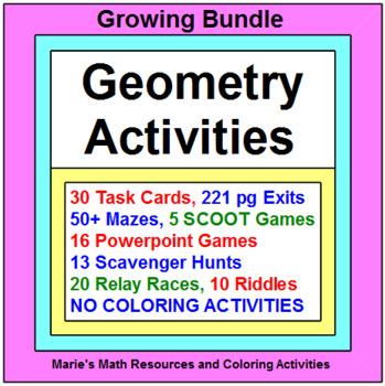 """GEOMETRY:  ACTIVITIES """"GROWING"""" BUNDLE (NO COLORING ACTIVITiES)"""