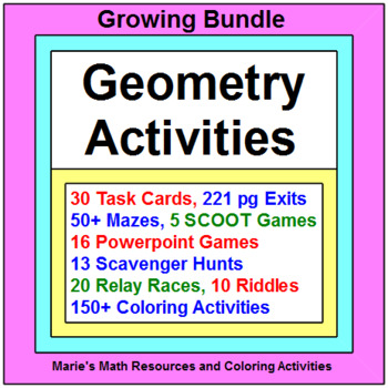 "GEOMETRY: ACTIVITIES ""GROWING"" BUNDLE WITH 150+ COLORING ACTIVITIES"