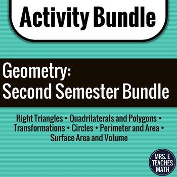 GEOMETRY ACTIVITY BUNDLE:  Second Semester