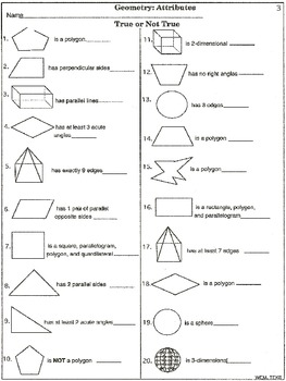 geometry attributes printable worksheets by wilbert mitchell tpt. Black Bedroom Furniture Sets. Home Design Ideas
