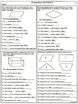 Geometry: Attributes (printable worksheets)